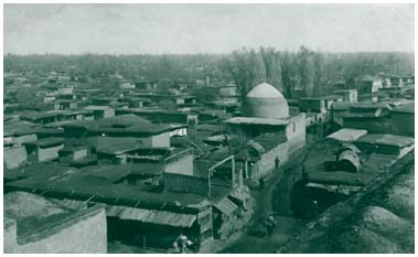 The panoramic view of old city photographed from the dome of Hodzha Ahrar's mousque
