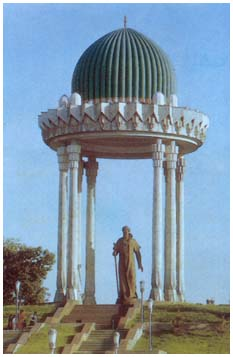 The monument to Alisher Navoi in National Park of Uzbekistan